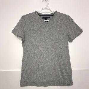 🧩Tommy Hilfger Grey Boys V-Neck Short Sleeved Top